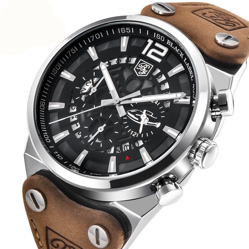 BENYAR Brand Chronograph Sports Men Watches Fashion Military Waterproof Leather Quartz Watch Relogio Masculino <font><b>Zegarek</b></font> Meski