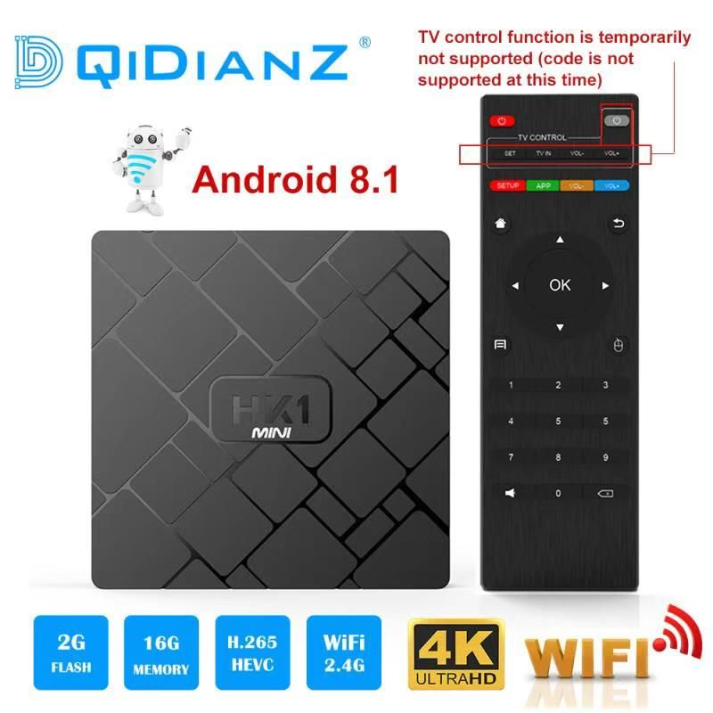 NEW,HK1 mini Smart TV BOX Android 8.1 2GB+16GB RK3229 Quad-Core WIFI 2.4G 4K 3D HK1mini Google Netflix Media Player Set-Top Box