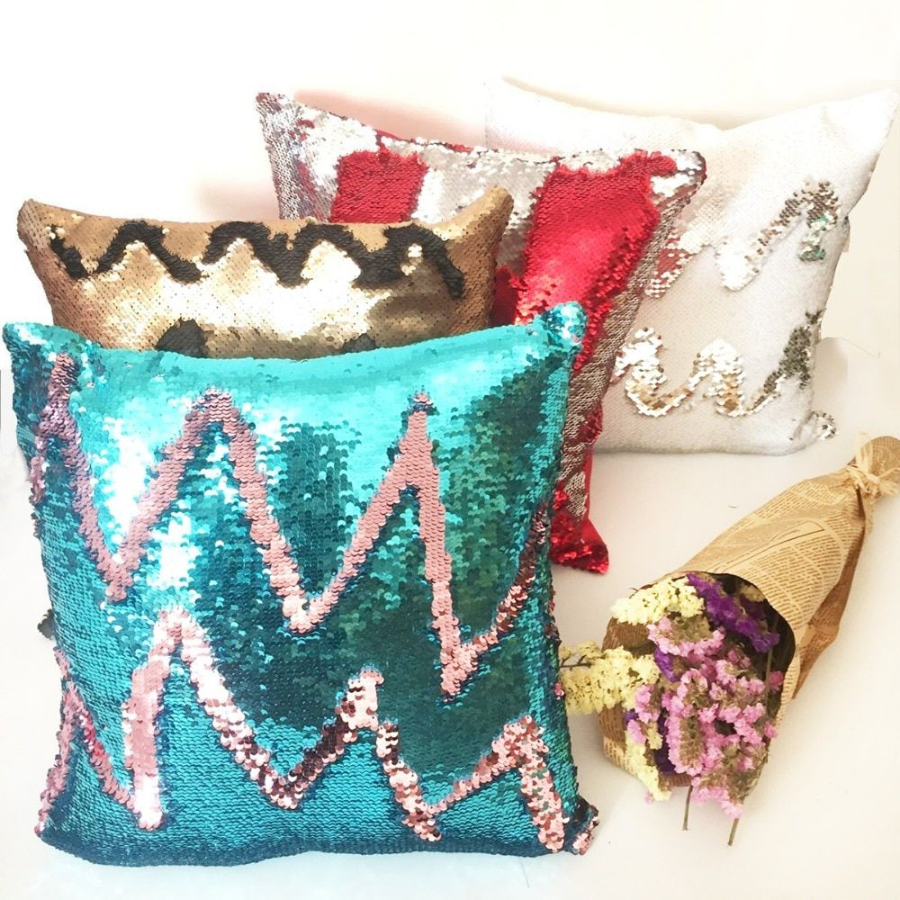 Mermaid Cushion cover Reversible pillow case coussin decoration cojines kussenhoes almofada decorativa DIY Sequin pillow cover