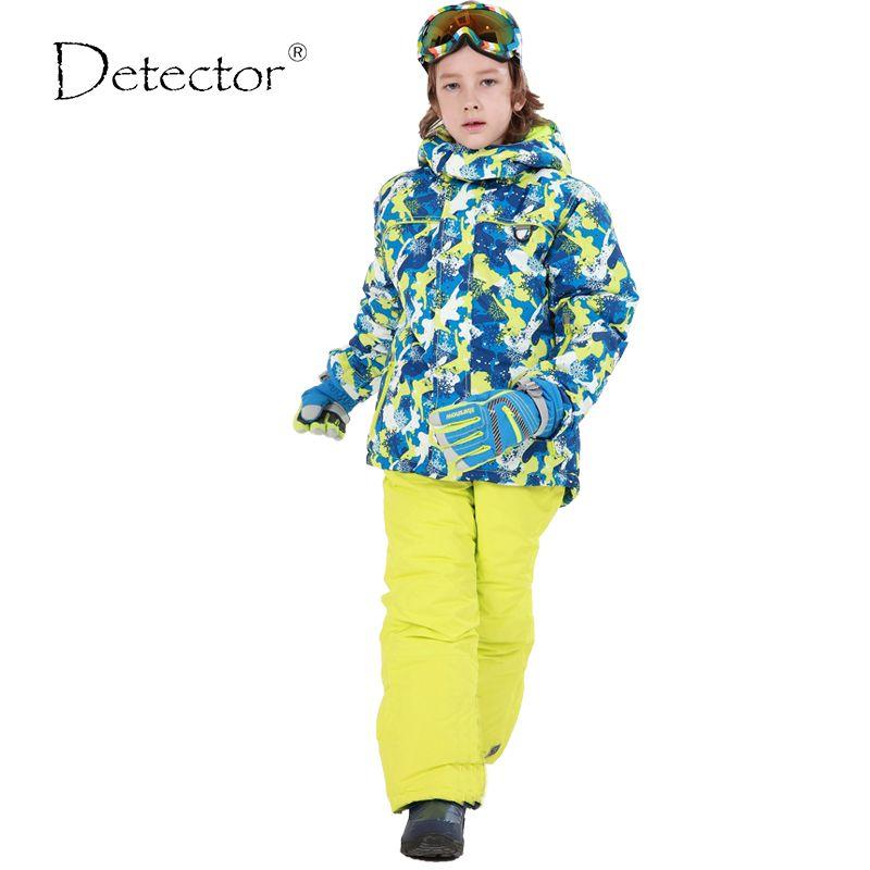 Детектор для мальчиков Лыжный Костюмы Водонепроницаемый ветрозащитный Лыжный спорт куртка брюки зима Термальность сноуборд Наборы для ух...