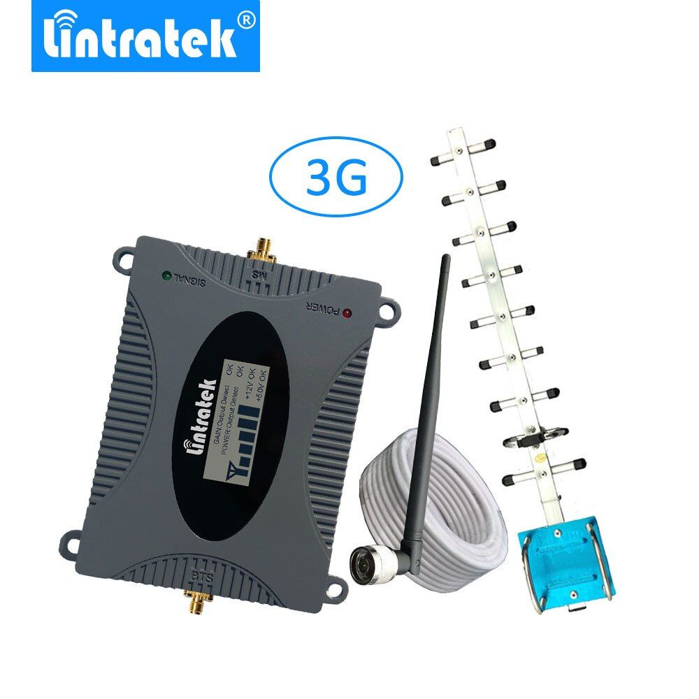 Lintratek 3G Mobile Cell Phones Signal Repeater Booster Amplifier UMTS 2100MHz (Band 1) Yagi Antenna Set for 3G Voice and Data @