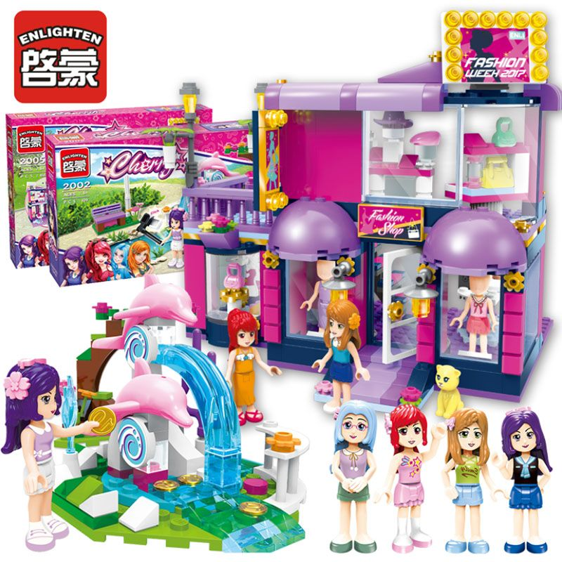 Enlighten City Girl's Series Buliding Blocks Sets Cafe/ Bus/Fashion Shop DIY Toys Children Education Christmas Birthday Gifts