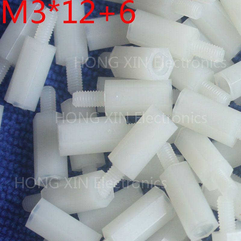 M3*12+6 white 1pcs 12mm Nylon Standoff Spacer Standard M3 Male-Female Standoff Kit Repair Set High Quality PC tool plastic screw