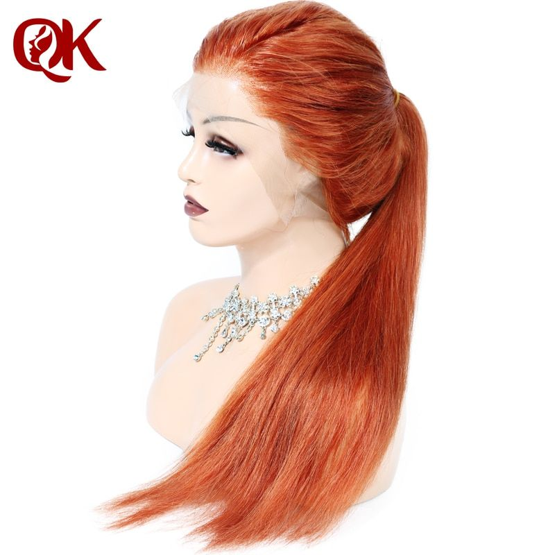 QueenKing hair Human Hair Full Lace Wig 150% Density Ginger Color #350 Silky Straight Preplucked Hairline 100% Brazilian Remy