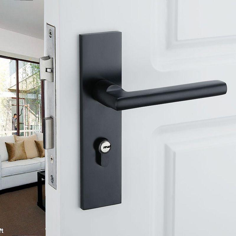 Serrures de porte en aluminium noir solide espace Continental chambre minimaliste poignée de porte intérieure serrure cylindre serrures de sécurité paquets