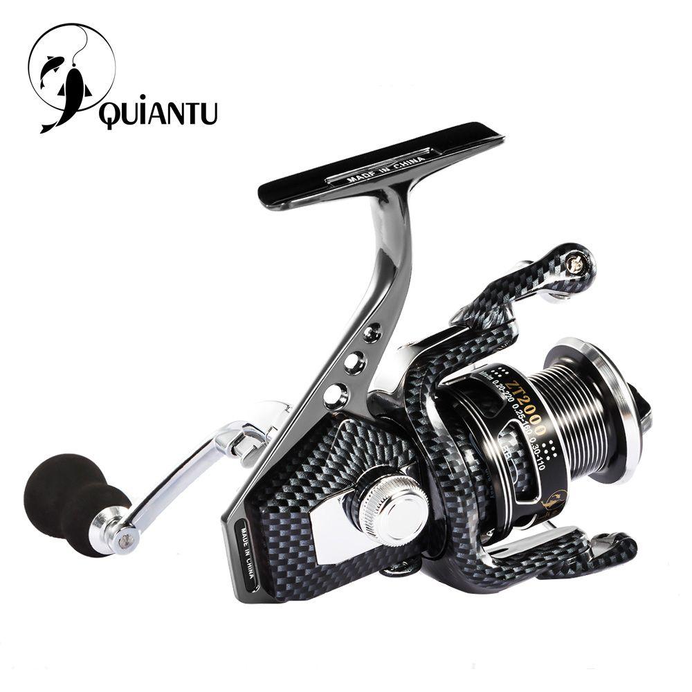 QUIANTU Brand 5.5:1/4.7:1 14BB Waterproof Carbon Drag Spinning Reel Large Spool 20KG Max Drag Freshwater Spinning Fishing Reel