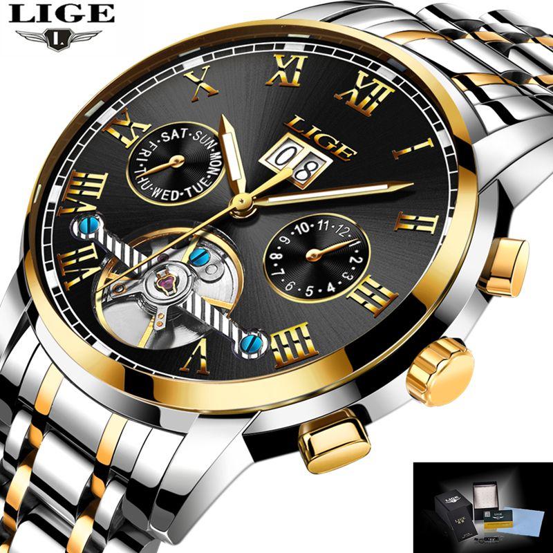 LIGE Top Marke Luxus männer Sport Uhren Männer Wasserdichte mechanische Uhr Mann Voller Stahl Military Automatische armbanduhr Uhren