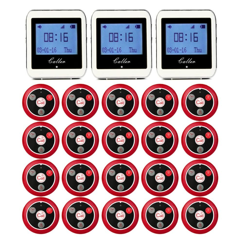 20 Call Transmitter Button+3 Watch Receiver Restaurant Pager Wireless Waiter Calling System Restaurant Equipment 433MHz F9408
