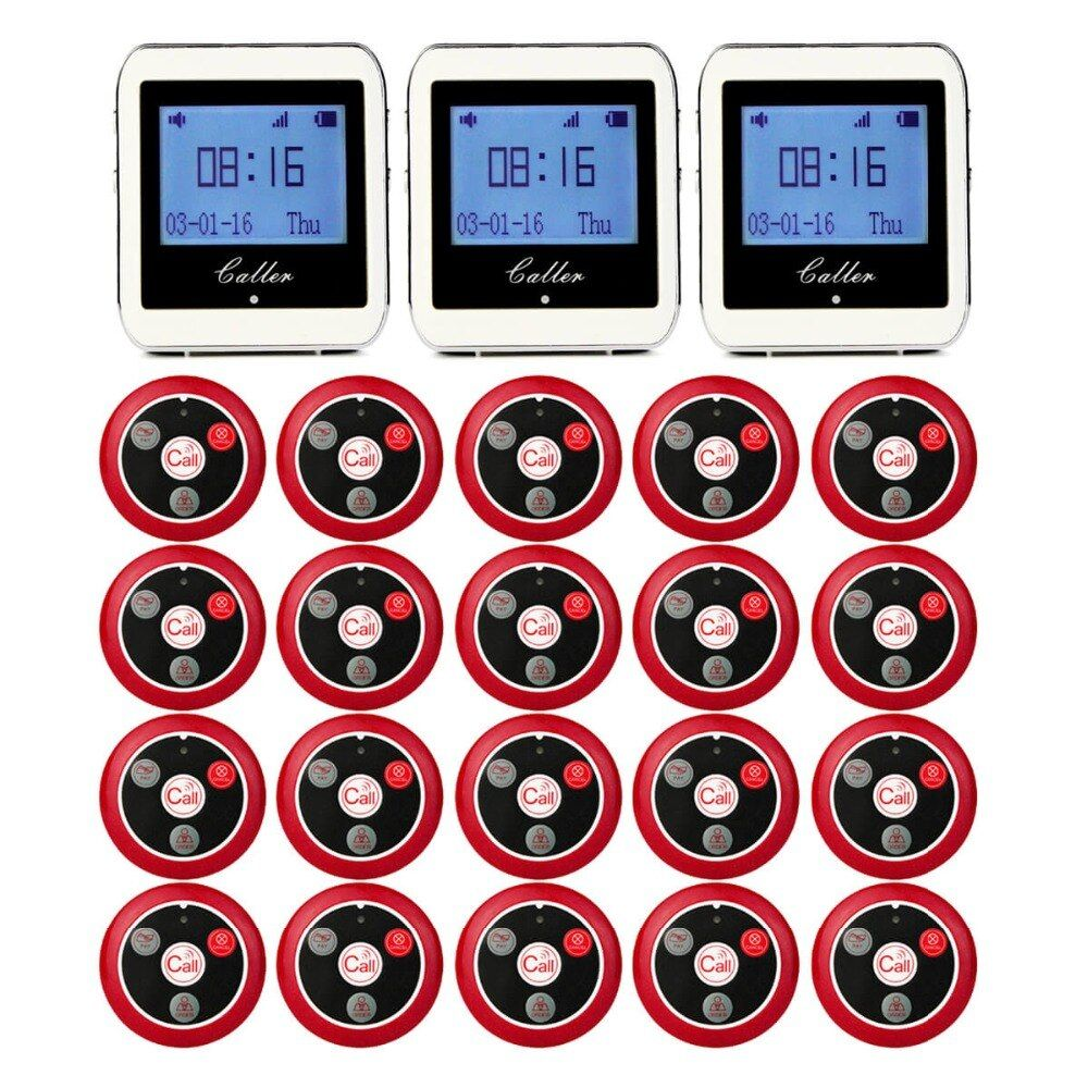 20 Call Transmitter Button+3 Watch Receiver Restaurant Pager Wireless Waiter Calling System Restaurant Equipment 433MHz F9408