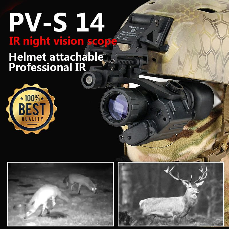 New Updated PVS-14 IR Helmet Attachable Night Vision Scope For Hunting Wargame HS27-0008