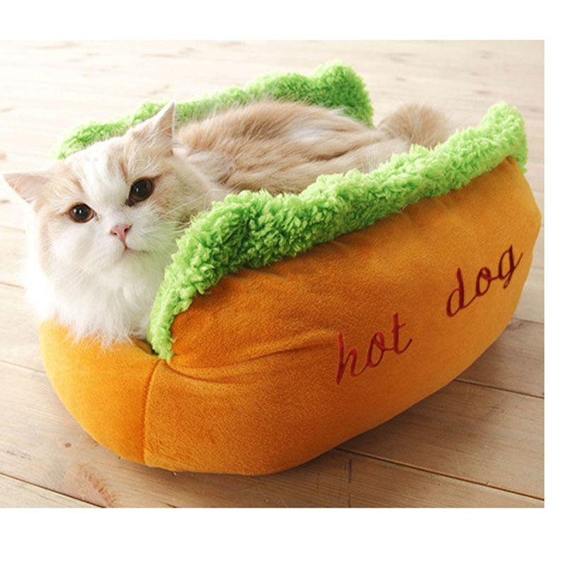 Hot Dog Bed Pet Cute Dog Beds For Small Dogs Warm Cat Sofa Cushion Soft Pet Sleeping Bag Pet Mat Funny Hot Dog Cushion