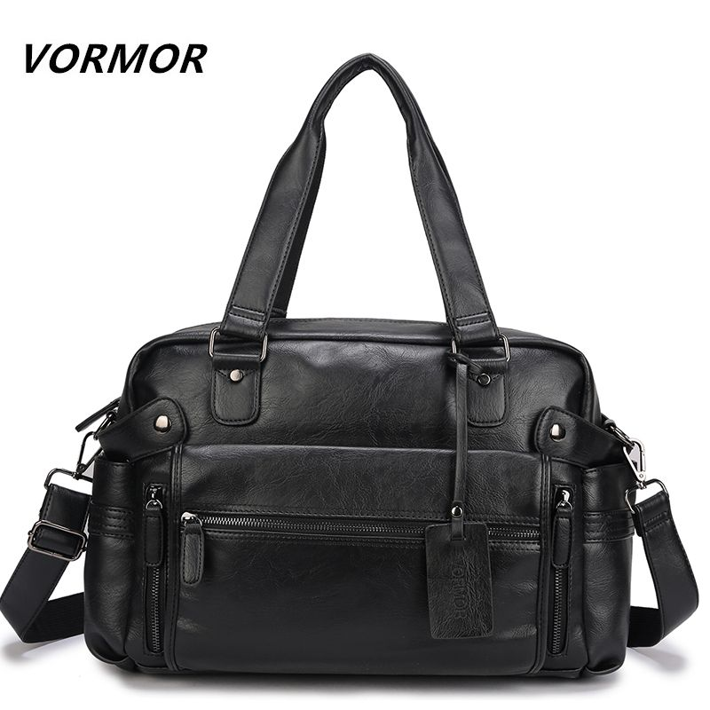 VORMOR PU Leather Bag Business Men Handbags Men's Travel Bags Laptop Briefcase Bag for Man