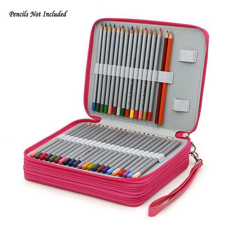 124 Holder 4 Layer Portable PU Leather School Pencils Case Large Capacity Pencil Bag For <font><b>Colored</b></font> Pencils Watercolor Art Supplies