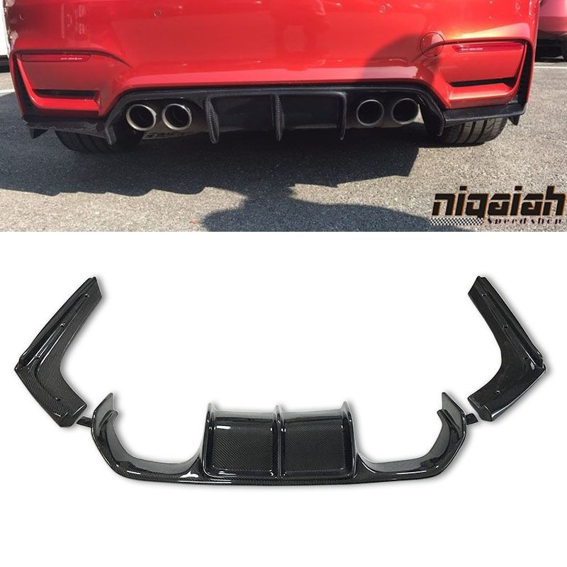 New Arrival F80 M3 F82 M4 V Styling 3pcs Carbon Fiber Rear Bumper Lip Diffuser For BMW F80 M3 F82 M4 2014UP