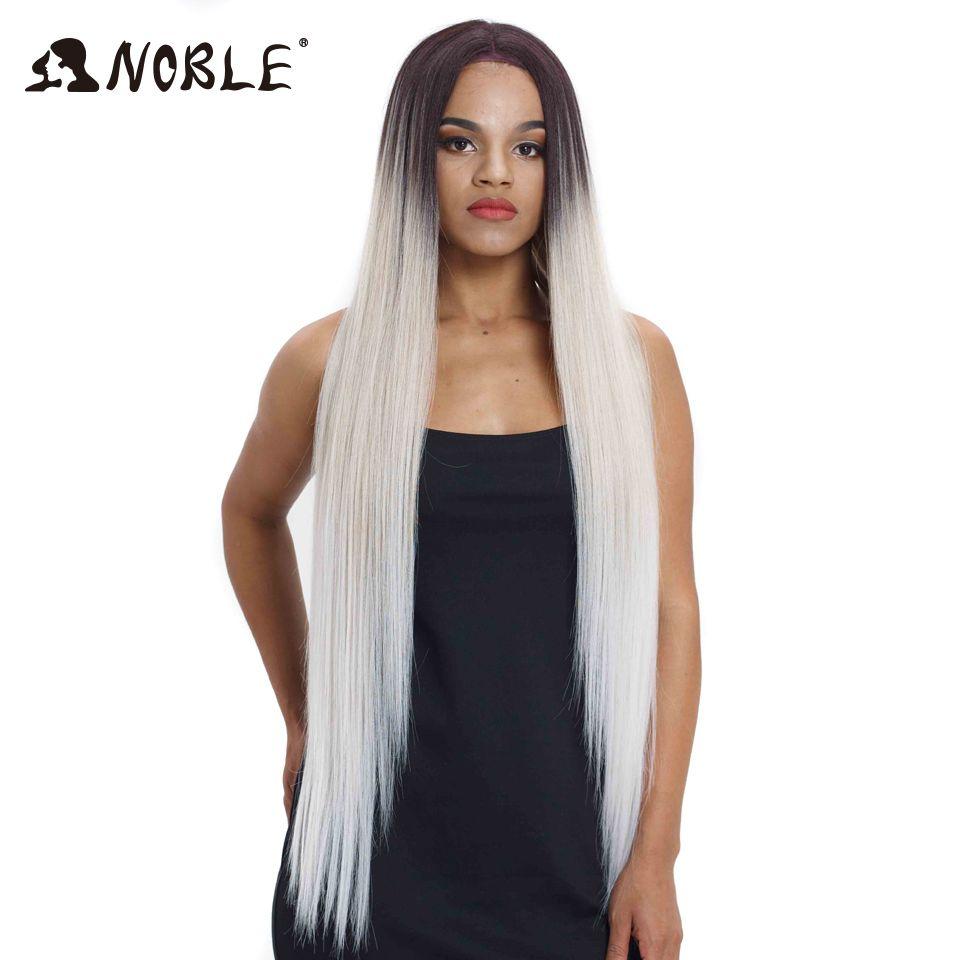 Perruques de cheveux nobles pour les femmes noires droites synthétiques dentelle avant cheveux 38 pouces Ombre dentelle avant perruque Cosplay Blonde dentelle avant perruque