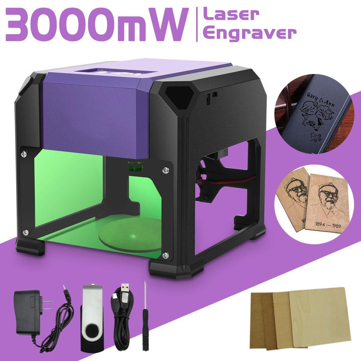 3000mW USB Desktop Laser Engraver Machine DIY Logo Mark Printer Cutter CNC Laser Carving Machine 80x80mm Engraving Range