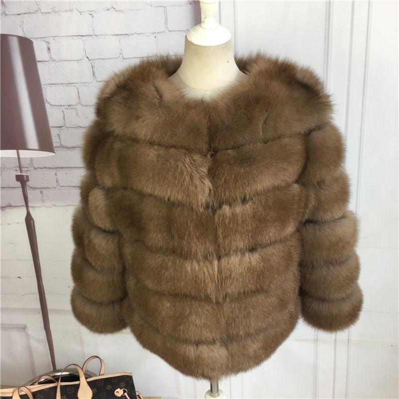 CNEGOVIK Short fox fur coat blue fox fur Imitation sable real fur jacket 50cm length