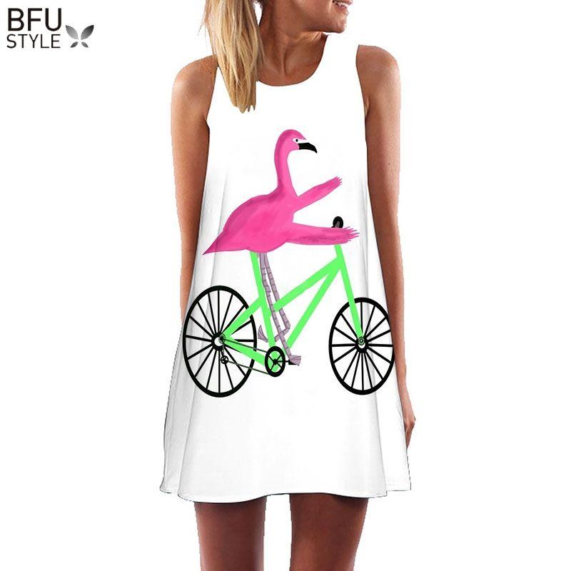 Plus la Taille S-3XL Sans Manches Plage Boho Robe Flamingo Imprimé Floral Vêtements Femmes 2018 D'été Poste Court Robes Casual Robe