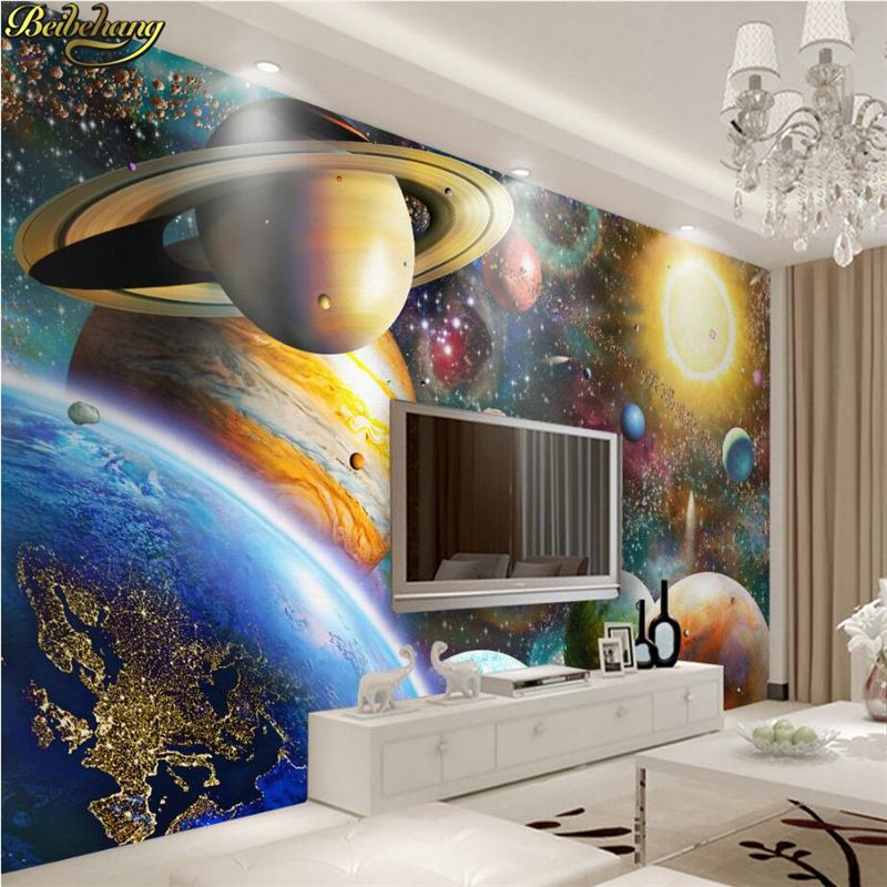 Beibehang personnalisé photo 3D papier peint grand espace de fresque cosmique enfants chambre chambre grandes peintures murales papier peint papel de parede
