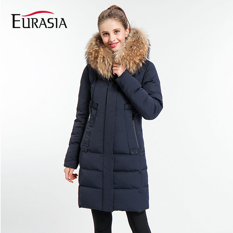 Eurasia Real New Arrival Full Woven 2018 Women Winter Jacket Real Fur Collar Coat Hooded Design Warm Practical Parkas Y170021