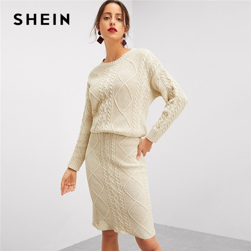 SHEIN Beige Elegant Solid Eyelet Detail Mixed Knit O-Neck Long Sleeve Top And Skinny Skirt Set Autumn Workwear Women Two Pieces