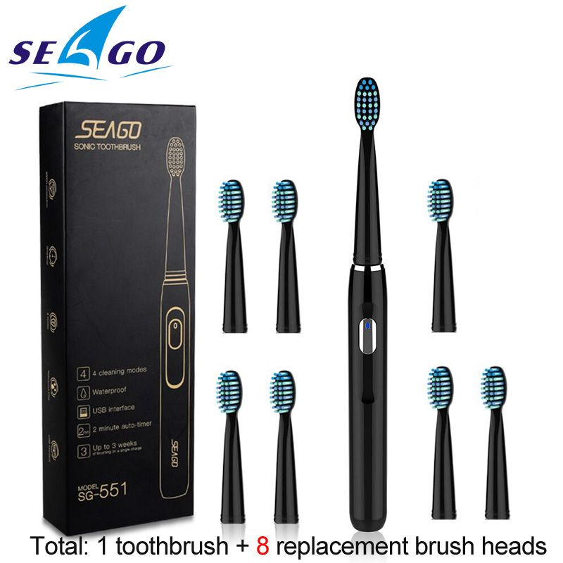 Seago Sonic Rechargeable Electric Toothbrush with 3 Replacement Brush Heads 2 Minutes Timer & 4 Brushing Modes Waterproof SG551