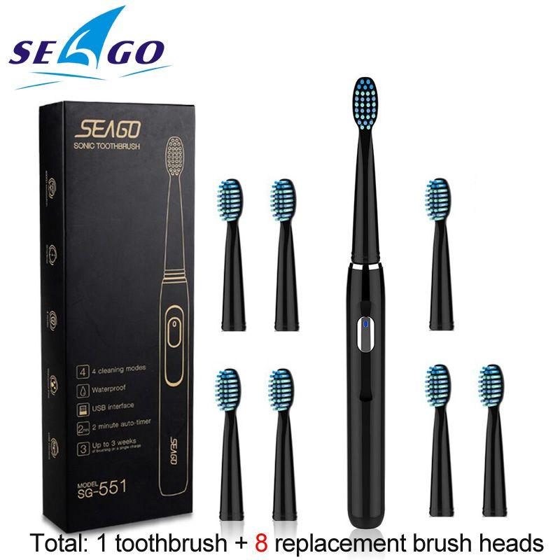 Seago brosse à dents électrique Rechargeable Sonic avec 3 têtes de brosse de rechange minuterie de 2 Minutes et 4 Modes de brossage étanche SG551
