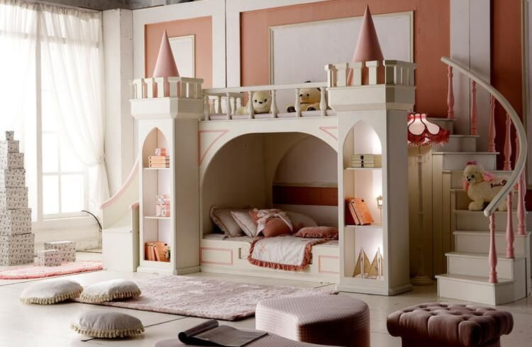 Luxury Baby Beds Literas Children's Bedroom Furniture Girl Princess Castle Bunk Bed