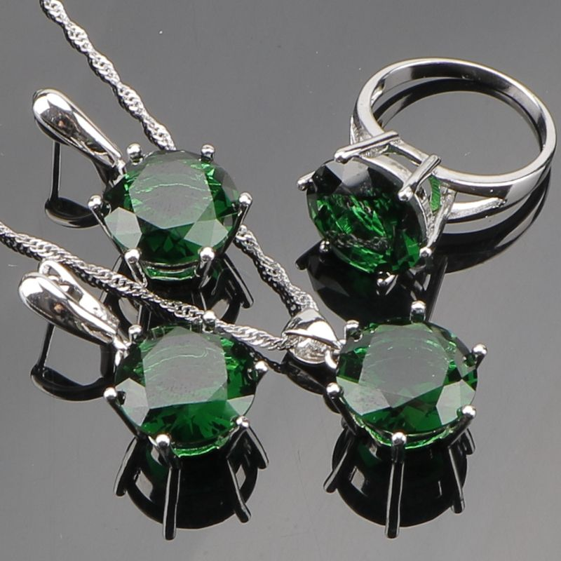 Huge Round Green  Cubic Zirconia Sterling Silver Jewelry Sets For Women Silver Earrings/Pendant/Necklace/Rings