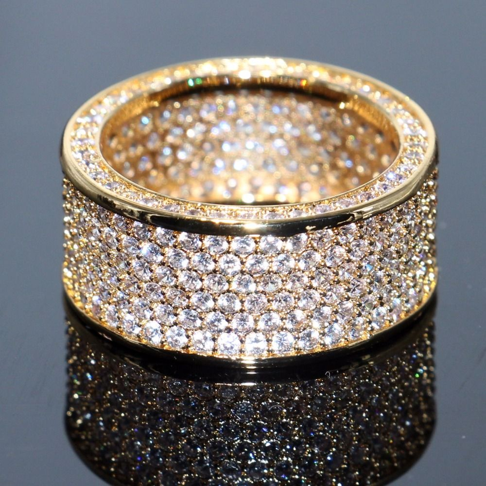 choucong Brand New Luxury Jewelry 10KT Yellow Gold Filled Stunning Full White Clear 5A Cubic Zirconia CZ Women Wedding Band Ring