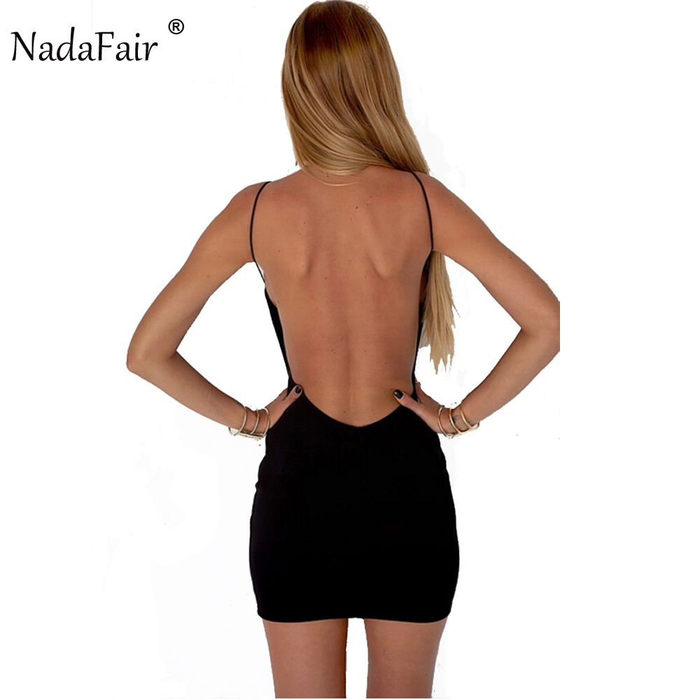 Nadafair 95% Coton De Courroie De Gaine Noir Sexy Club Backless Robe Moulante Femmes Summer Beach Casual Mini Robe