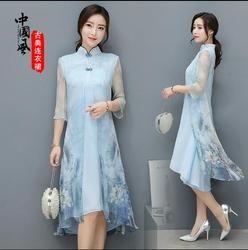 Freeshiping 2017 Baru Cina gaya Cheongsam gaun Rekreasi Vietnam womens gaun