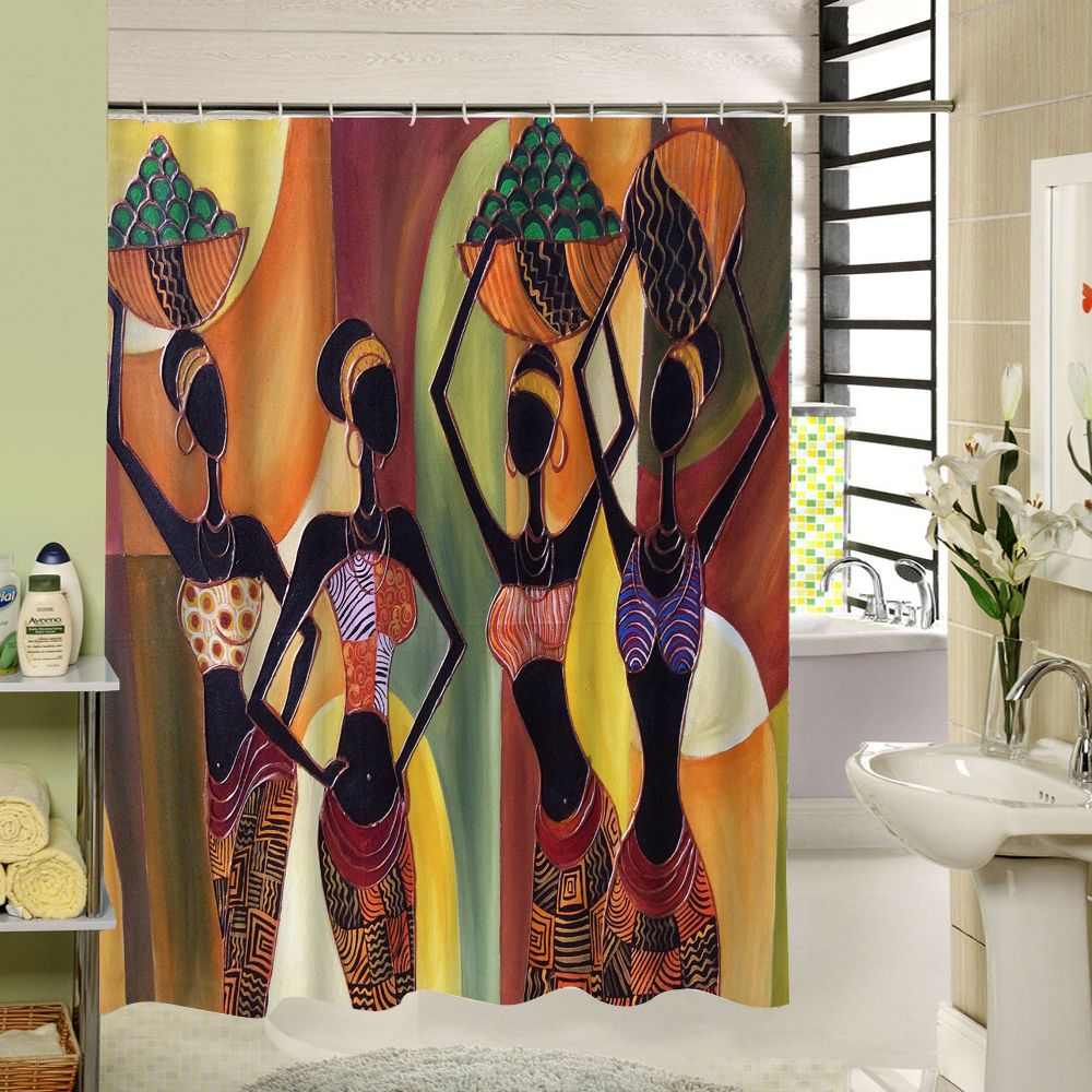 Новинка 2017 года другие пользовательские Водонепроницаемый Ванная комната Африканская женщина душ Шторы полиэстер Ткань Ванная комната Шт...