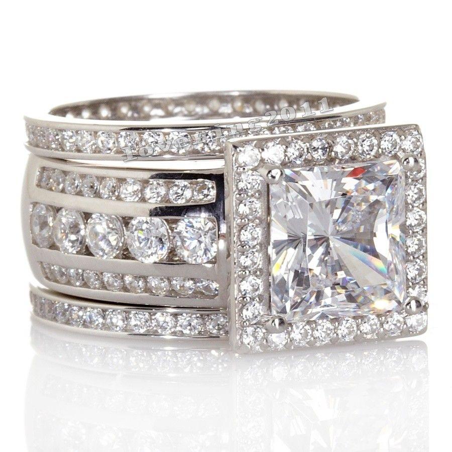 Choucong Роскошные Для женщин ювелирные Полный Круглый AAAAA Циркон CZ Кольцо стерлингового серебра 925 Для женщин Обручение обручальное кольцо