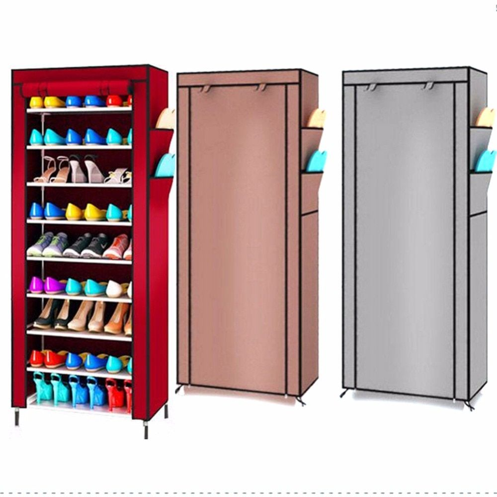9 Layers Shoe Cabinet Canvas Fabric Shoe Organizer Storage Rack W/ Zipper Standing Shoes Shelf Large Capacity Home Furniture