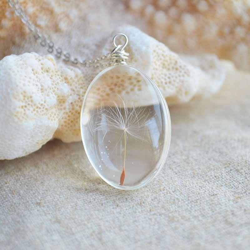 Dandelion Seed Wish Real Flowers 925 Sterling Silver Chain Statement Necklace Women Choker Jewelry Boho Bohemian <font><b>Best</b></font> Friend