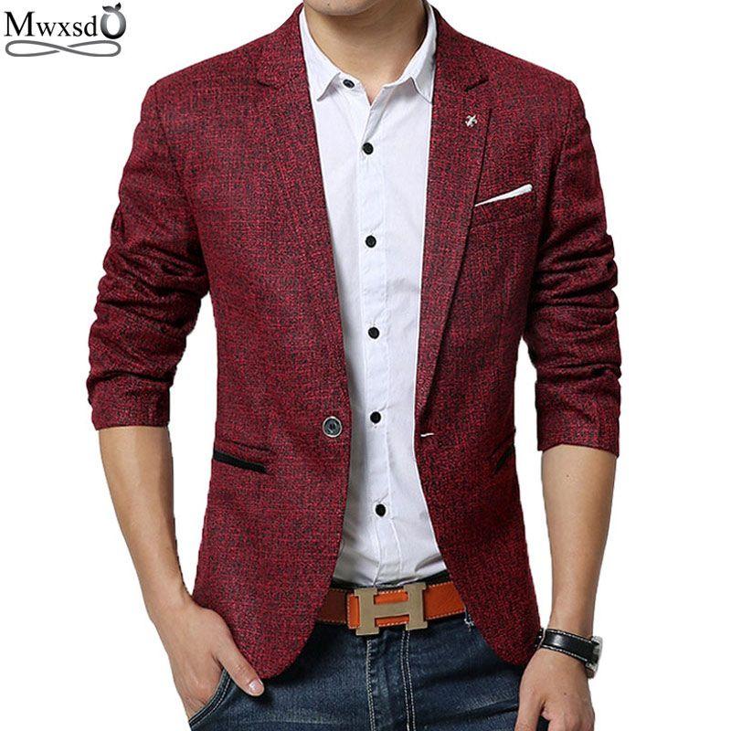 Mwxsd бренд весна-осень Для мужчин Повседневная Блейзер костюм Для мужчин S хлопковый костюм пиджак Slim Fit Для мужчин Классические smart casual блейз...