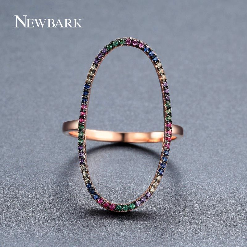NEWBARK Sparkling Hollow Oval-shaped Ring Pave Colorful Tiny Small Cubic Zirconia Rhinestone Rose Gold Color Simple Trendy Rings