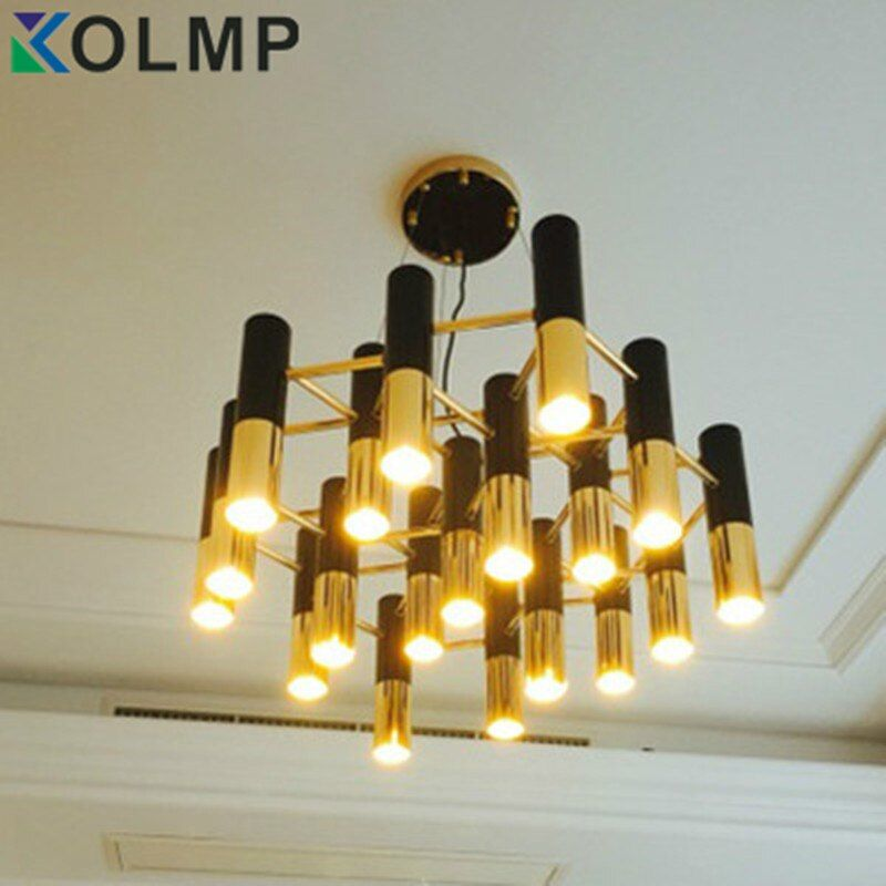 delightfull Ike black and gold metal aluminum tube chandelier lamp Italy modern design suspension light for dinning restaurant