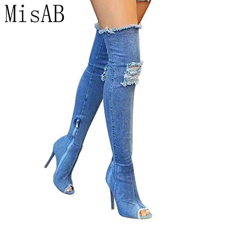 2018 Hot Women Boots high heels summer autumn peep toe Over The Knee Boots quality tight High jeans boots fashion plus size