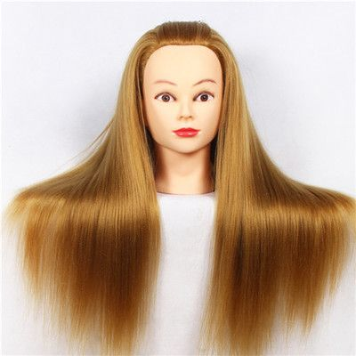 CAMMITEVER 20 inch Hair Styling Mannequin <font><b>Head</b></font> Blonde Hair Long Hair Hairstyle Hairdressing Training Doll Female Mannequins
