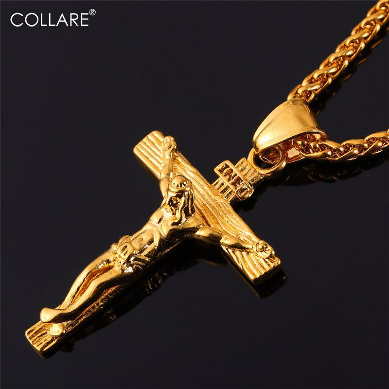 Collare INRI Crucifix Cross Necklace <font><b>Gold</b></font>/Rose <font><b>Gold</b></font>/Black Gun Color 316L Stainless Steel Chain For Men Jewelry Jesus Piece P166