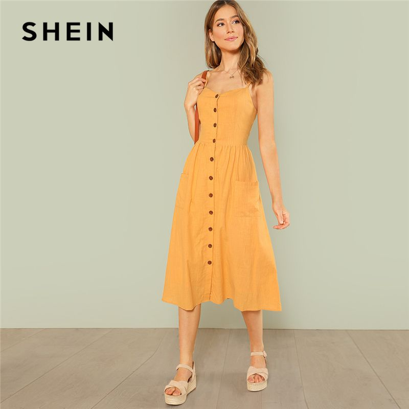 SHEIN Yellow Elegant Backless Pocket Patched Button Up Straps Cami Solid Dress Summer Women Weekend Casual Dresses