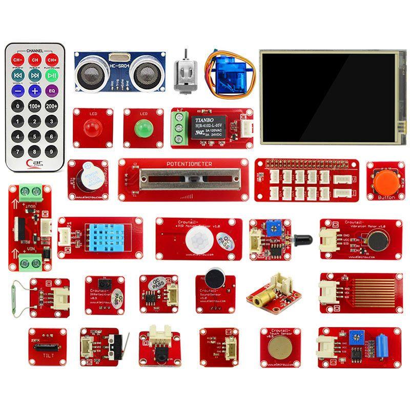 Elecrow Framboise Pi 3 Starter Kit 3.5 pouce Capteur D'affichage Modules LED 9G Servo Framboise Pi IOT Projets Électronique DIY Kit