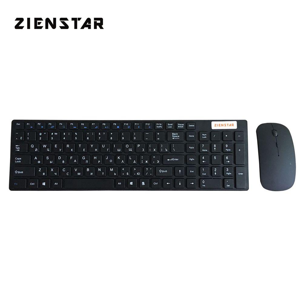 Zienstar russe 2.4G clavier sans fil souris combo avec récepteur USB pour bureau, ordinateur PC, ordinateur portable et Smart TV