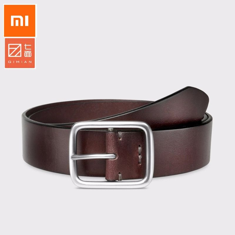 Best quality Xiaomi Mijia Qimian 100% Leisure Cow Leather Belt Fashion Five Hole 38mm Width for Man Alluminum Buckle Best Gift