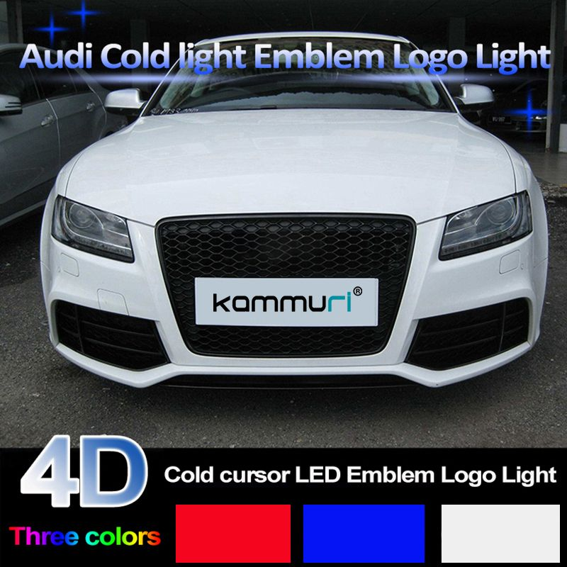 KAMMURI 4D Cold light Front Rear badge Emblem Light for Audi A1 A3 A4 A5 A6 A7 Q3 Q5 Q7 TT R8 100 Front grille badge Logo Light