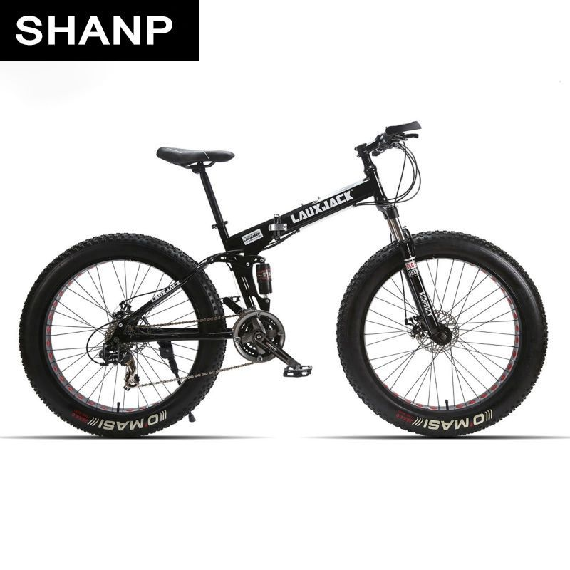 Lauxjack mining double-layer bicycle steel folding frame 24 speeds shimano mechanical disc wheel disc brakes 26