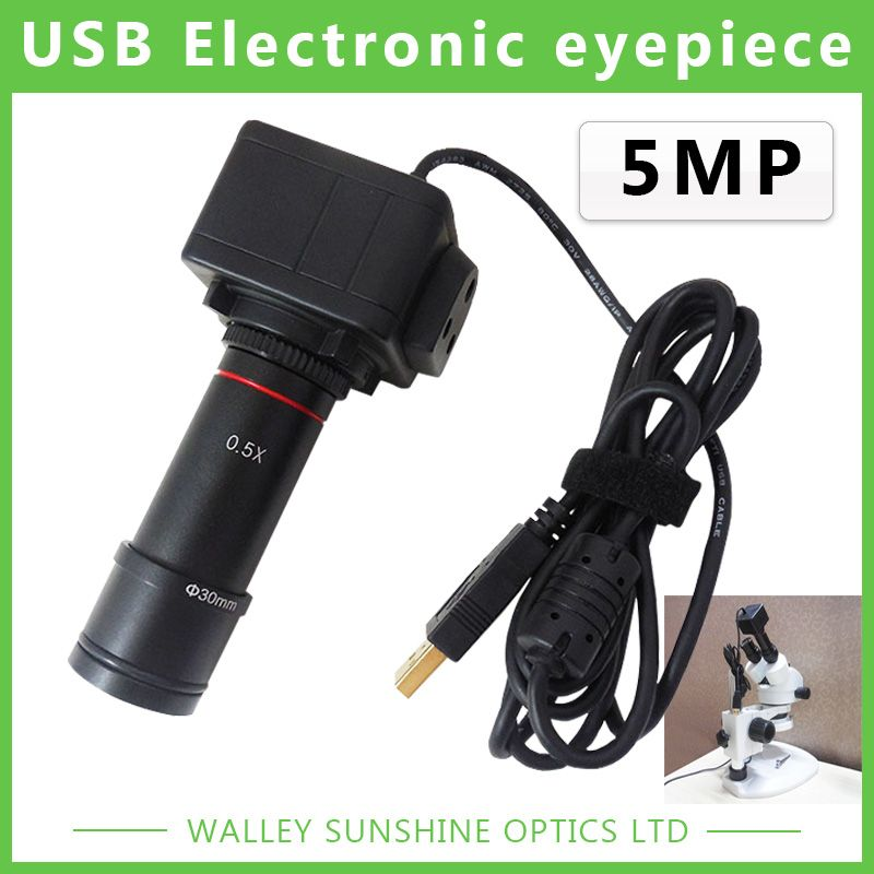 5MP Binocular Stereo Microscope Electronic Eyepiece USB Video CMOS Camera <font><b>Industrial</b></font> Eyepiece Camera for Image Capture