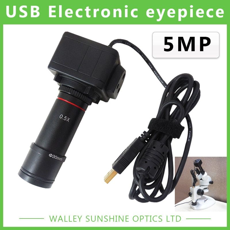 5MP Binocular <font><b>Stereo</b></font> Microscope Electronic Eyepiece USB Video CMOS Camera Industrial Eyepiece Camera for Image Capture